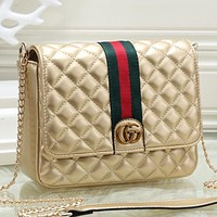 Gucci Women Fashion Pattern Leather Shoulder Bag Crossbody Bag