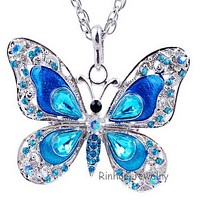 Crystal butterfly pendant long necklace chain