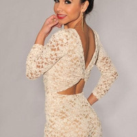 Cream Lace Nude Illusion Knotted Key Hole Back Romper one size = 1958004804