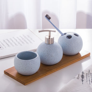 Ceramic sanitary ware suit bathroom articles wash gargle marriage birthday gift toothbrush cup