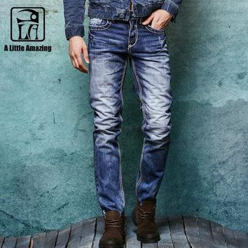 Thick Stitch Mens Distressed Jeans Ripped 3D Crinkle Whiskers Male Fashion Denim Cargo Pants Vintage Washed  Casual Pants 038C