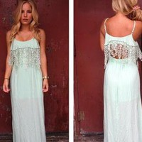 Mint Maxi Dress with Eyelet Lace and Cutout Back Detail