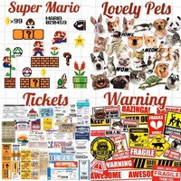 Super Mario party nes switch Theme Cartoon  Cats Dogs Warning Sign Tickets Laptop Notebook Skin Stickers Car Styling Decal For kids Toys Suitcase AT_80_8