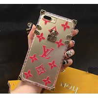 LV Louis Vuitton Hot Sale Popular Transparent Crystal Jelly iPhone Phone Cover Case For iphone 6 6s 6plus 6s-plus 7 7plus 8 8plus X Red I12216-1