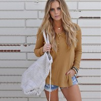 Knitted Side Split Casual Thin Sweater