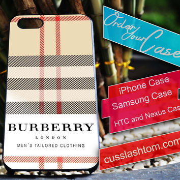 Exclusive Burberry iPhone for 4 5 5c 6 Plus Case, Samsung Galaxy for S3 S4 S5 Note 3 4 Case, iPod for 4 5 Case, HtC One M7 M8