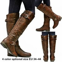 2017 Women's Fashion Leather Zipper High Heels Boots Winter Sexy Rivet Buttons Knee Boots with Size 34-44