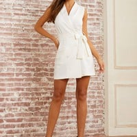 Solid White Double Button Belted Blazer Dress