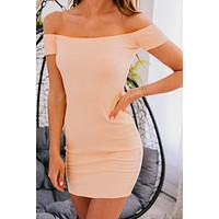 String You Along Smocked Bodycon Dress (Peach)