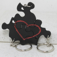 Puzzle Piece Interlocking Leather Key chains 3 Piece Set Heart and Always Together saying