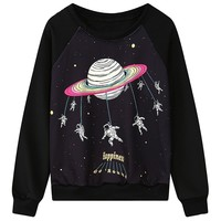 "MapleClan ""Go Round"" Universe Spaceman Pattern Loose Sweatshirt"