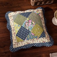 Tache Cotton Patchwork Olive Green Navy Blue Floral Scalloped Spring Shower Cushion Cover 2-Pieces (DXJ10077)