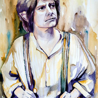 """Bilbo Baggins, The Hobbit watercolor painting print 8"""" x 12"""" Celebrity Portraits, dragon, The Lord of the Rings,"""