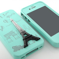 For iPhone 4S 4G 4 MINT Eiffel Tower Hard Silicone case Rhinestone case cover