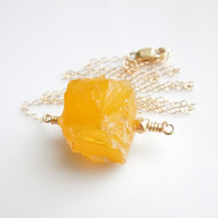 Yellow Marigold Cube Agate Necklace in Gold, OOAK