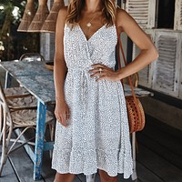 Sexy V-Neck Strap Polka Dot Mini Dress