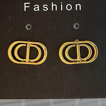 DIOR 925 Popular Women Personality Golden Letter Pendant Long Style Earrings Accessories #2
