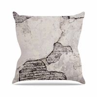 "Sylvia Cook ""Crumbling Wall"" Brown Gray Outdoor Throw Pillow"
