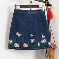 New 2017 Fashion butterfly Floral Embroidery A-Line Skirt Mini Denim Skirts Woman Retro High Waist Skirts 72561