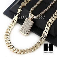 "MEN HIP HOP DOG TAG TENNIS CHAIN DIAMOND CUT 30"" CUBAN LINK CHAIN S51"