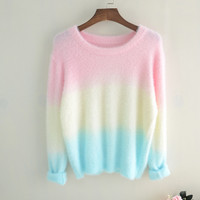 Japanese gradient color knit sweater