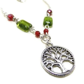 Tree of Life Necklace with Crystal and Glass Beads, Tree Necklace,Red and Green Necklace,Beaded Necklace,Boho Necklace,Hippie,Nature Jewelry