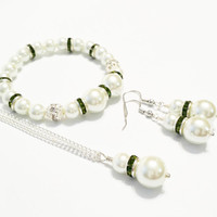 Olive Green Wedding Set / Green and White Pearl Necklace, Bracelet, and Earring Set / Wedding Jewellery Set / Bridesmaid Jewelry Set