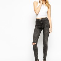 ASOS Rivington Jeans In Washed Grey With Ripped Knee at asos.com