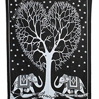 "Amitus Exports ® 1 X Elephant Heart Tree 79""X53"" Approx. Inches Black And White Color Cotton Fabric Multi-Purpose Handmade Tapestry Hippy Indian Mandala Throws Bohemian Tapestries"