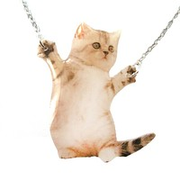Adorable Kitten Hug Baby Kitty Cat Standing Up on Hind Legs Shaped Pendant Necklace | Handmade