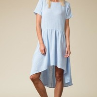 Short Sleeve Cotton Dress With Pockets