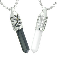 Amulets Love Couple Leaf Positive Energy Yin Yang Simulated Onyx White Cats Eye Pendant Necklaces