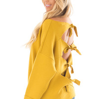 Sunflower Sweater with Open Tie Back