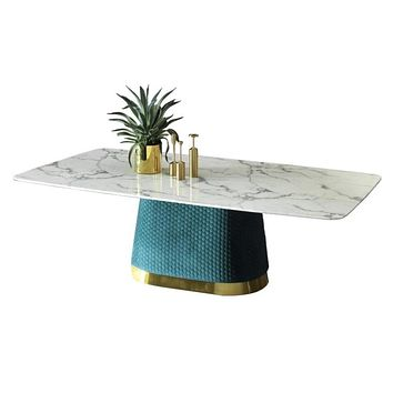 Luxury Fabric Marble Dining Table & Chair Set