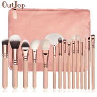 OutTop Best Deal New 15 PCS Pro Makeup Brushes Set Cosmetic Foundation Loose Powder Complete Eye Kit + Case Beauty Tool Gift