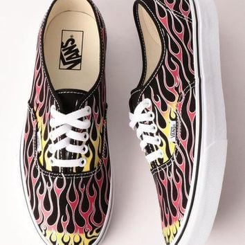 Vans Mash Up Authentic Flame Printing Fashion Low Band Men's and Women's Board Shoes