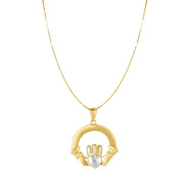 14k Gold Yellow And White Claddagh Pendant Necklace, 18""