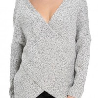 Chunky Cross Wrap V Neck Tunic Pullover Sweater