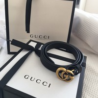 Gucci Leather Mini Double GG Buckle Belt 75 30 Slim 2cm Wide Dustbag And box