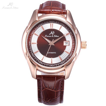 KS Watch Automatic Rose Gold Date Analog Crystal Transparent Back Mechanical Brown Leather Band Strap Men Business Watch /KS258