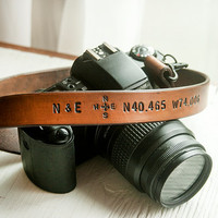 Custom Leather Camera Strap - Personalized Latitude and Longitude Coordinates, Compass Rose and Initials - Anniversary gift