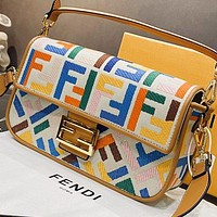 Fendi Fashion New Embroidery Multicolor More Letter Canvas Handbag Shoulder Bag Crossbody Bag