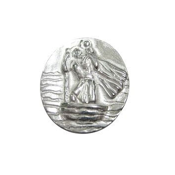 Silver Toned Oval Saint Christopher Magnet