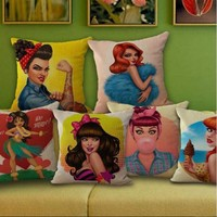 American Pin Up Decorative Pillow Covers