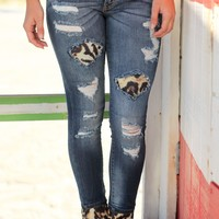 Denim Jeans With Leopard Patches