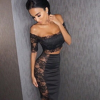 2017 New fashion Sexy Lace Two Piece Dress Sets Women's Strapless Sexy Party Dress