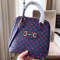 GUCCI Fashion New Letter Wave Point Print Leather Shoulder Bag Crossbody Bag Handbag