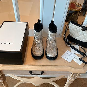 Gucci2021 Trending Women's men Leather Side Zip Lace-up Ankle Boots Shoes High Boots09150wk