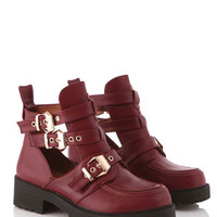 Christy Cut Out Gold Buckle Boot in Burgundy at Fashion Union