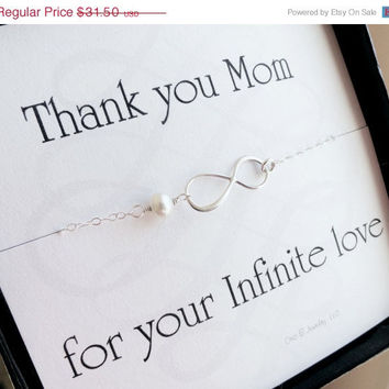 ON SALE Mother of the groom or mother of bride card with silver infinity necklace, pearl necklace, mother in law gift, boxed gift set for m